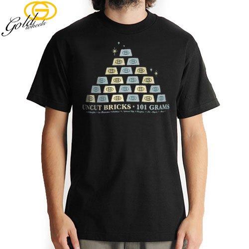 【GOLD WHEELS ゴールド ウィール スケボー Tシャツ】WEIGHT TEE【XXLサイズ】【ブラック】NO23