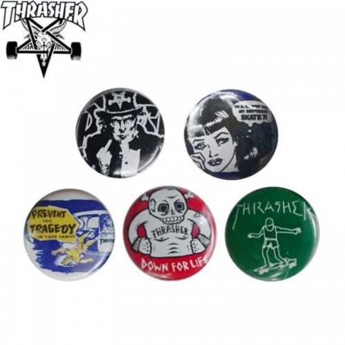 【スラッシャー THRASHER スケボー バッチ】USUAL SUSPECTS BUTTONS【5 PACK】NO02