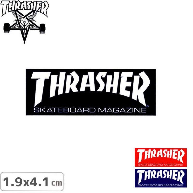 【スラッシャー THRASHER スケボー ステッカー】STANDARD LOGO【3色】【1.9cm x 4.1cm】NO41