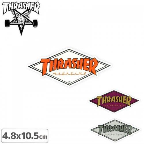 【スラッシャー THRASHER スケボー ステッカー】US規格 DIAMOND LOGO【3色】【4.8cm x 10.5cm】NO46