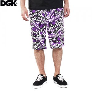 【DGK ディージーケー パンツ】DGK HATERS COLLAGE BOARD SHORTS【パープル】NO6