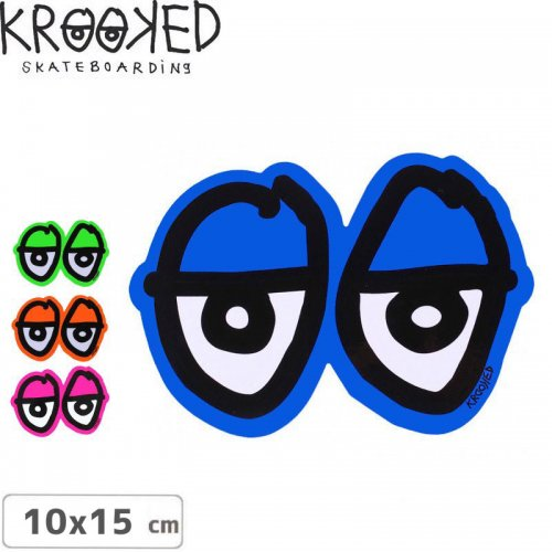 【クルックド KROOKED スケボー ステッカー】EYE LOGO【4色】【10cm x 15cm】NO12