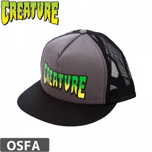 【クリーチャー CREATURE スケボー キャップ】Logo Mesh Trucker Cap【グレー x ブラック】NO18