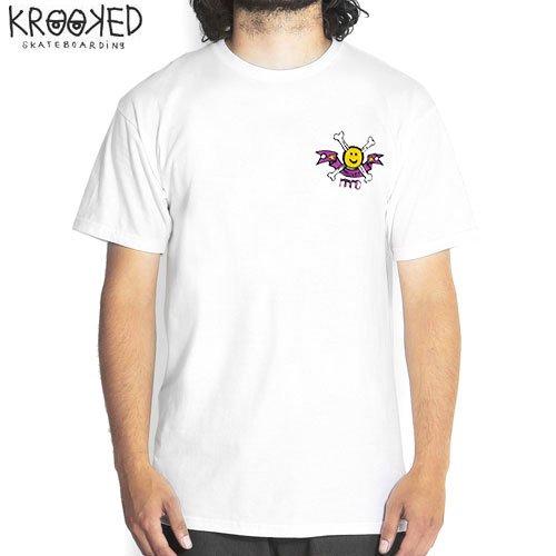 【KROOKED クルックド スケートボード Tシャツ】HAPPY BONE TEE【ホワイト】NO43