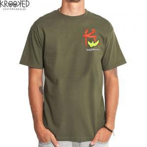 【KROOKED クルックド スケートボード Tシャツ】KBIRD TEE マークゴンザレス【アーミー グリーン】NO44