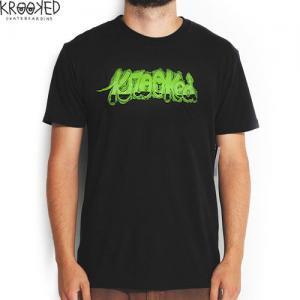 【KROOKED クルックド スケートボード Tシャツ】THOMAS CAMPBELL MUCK TEE【ブラック】NO45