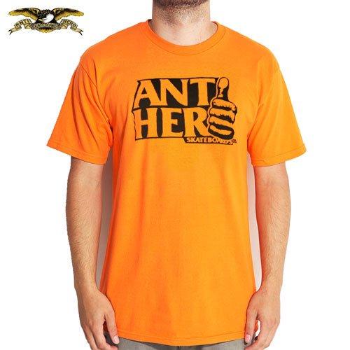 【アンチヒーロー ANTIHERO スケボー Tシャツ】THUMB HERO TEE【オレンジ x ブラック】NO59