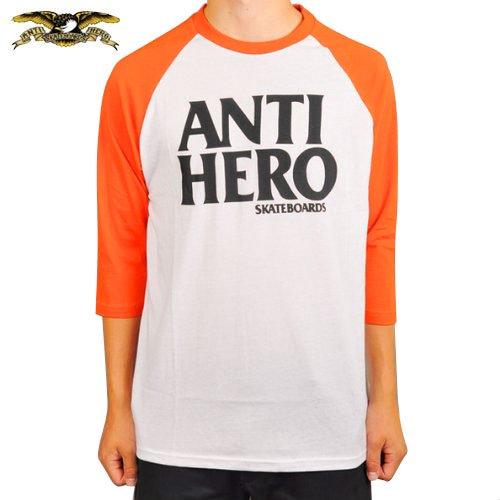 SALE! 【アンチヒーロー ANTIHERO スケボー Tシャツ】3/4 BLACKHERO RAGLAN TEE【オレンジ x ホワイト】NO60