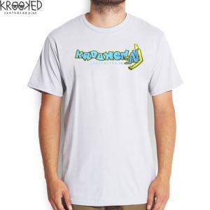【KROOKED クルックド スケートボード Tシャツ】Kool【シルバー】NO60