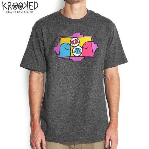 【KROOKED クルックド スケートボード Tシャツ】KROOKED TEE【チャコール ヘザー】NO64