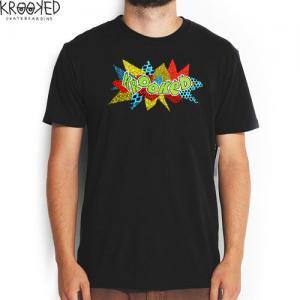 【KROOKED クルックド スケートボード Tシャツ】KRACKED ロゴ TEE【ブラック】NO65