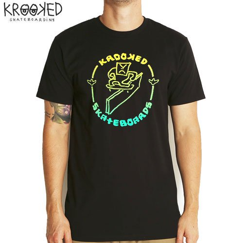 【KROOKED クルックド スケートボード Tシャツ】LEDGE TEE【ブラック】NO67