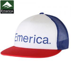 【エメリカ EMERICA スケボー キャップ】TRUCK STOP-2 CAP【ホワイト x ブルー x レッド】NO25