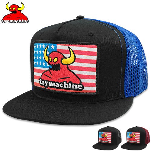 【トイマシン TOY MACHINE スケボー キャップ】AMERICAN MONSTER PATCH MESH CAP【3COLOR】NO25
