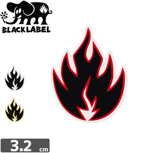【BLACK LABEL ブラックレーベル ステッカー】FLAME【3.2cm x 2.7cm】NO52