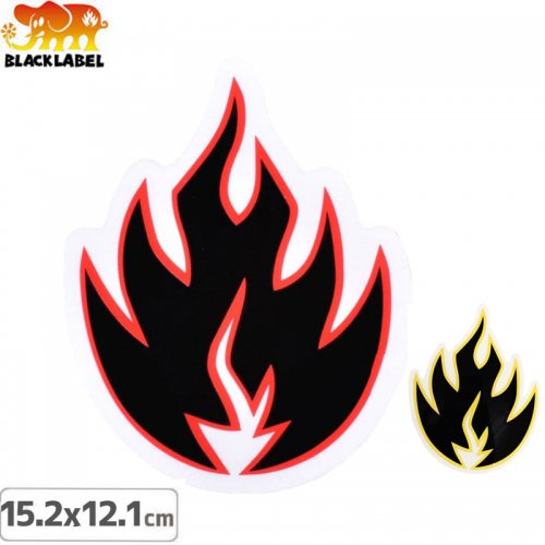 【BLACK LABEL ブラックレーベル ステッカー】FLAME【15.2cm x 12.1cm】NO57