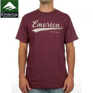 【エメリカ EMERICA スケボー Tシャツ】BUSH LEAGUE TEE【マルーン】NO102