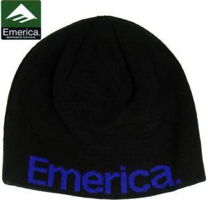 【エメリカ EMERICA ニットキャップ】PURE REVERSIABLE BEANIE リバーシブル ビーニー 帽子【ブラック】NO9