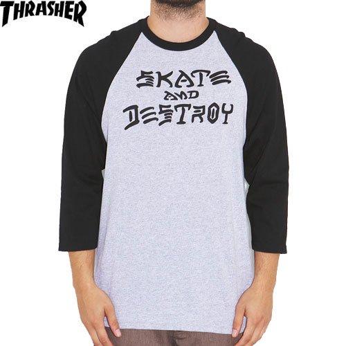 【スラッシャー THRASHER スケボー Tシャツ】USモデル SKATE AND DESTROY 3/4 RAGLAN【ヘザー グレー】NO71