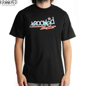 【KROOKED クルックド スケートボード Tシャツ】BOLT LOGO ロゴ TEE【ブラック】NO71