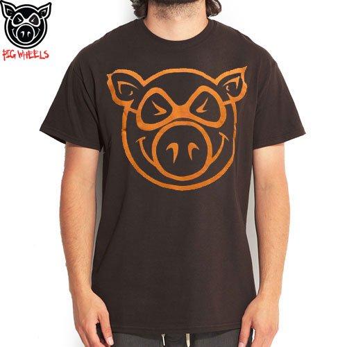 【ピッグ PIG WHEELS スケボー Tシャツ】BASIC ロゴ TEE【ブラウン x オレンジ】NO10