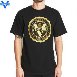【ベンチャー VENTURE TRUCKS スケボー Tシャツ】PREMIER TEE【ブラック x ゴールド】NO21