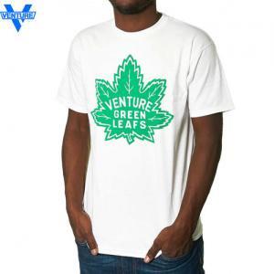 【ベンチャー VENTURE TRUCKS スケボー Tシャツ】GREEN LEAVES TEE【ホワイト x グリーン】NO22
