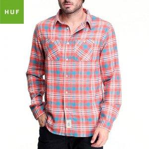 【HUF ハフ スケボー シャツ】GROUDWORK FLANNEL L/S チェックシャツ【CORAL】NO1