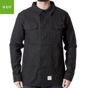 【HUF ハフ スケボー シャツ】UTILITY SHIRT L/S ワークシャツ【ブラック】NO2
