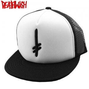 1週間限定セール!【デスウィッシュ Death Wish スケボー キャップ】Gang Logo Trucker Hat【ブラック x ホワイト】NO06