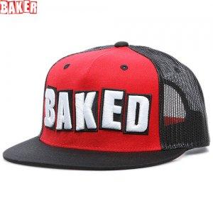 1週間限定セール!【ベーカー BAKER スケボー キャップ】BAKED TRUCKER HAT メッシュキャップ【レッド x ブラック】NO11