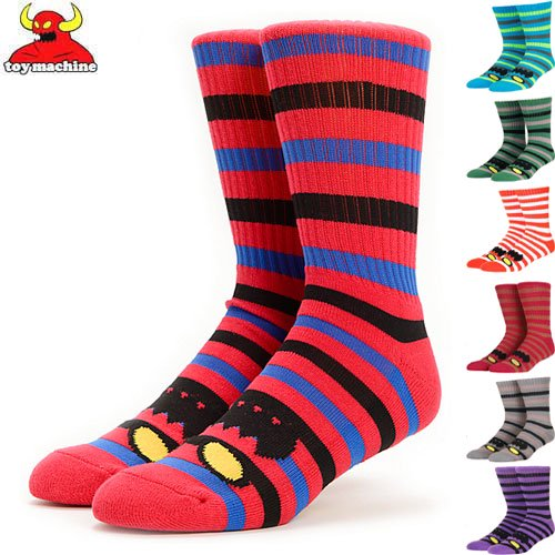 【TOY MACHINE トイマシーン ソックス】MONSTER STRIPE CREW SOCKS【3カラー】NO29