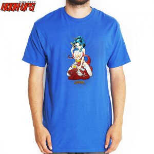 【HOOK UPS フックアップ スケボー Tシャツ】NAUGHTY THREE TEE【ロイヤル ブルー】NO40