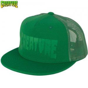 【クリーチャー CREATURE スケボー キャップ】Logo Stamp Trucker Mesh Hat【グリーン】NO28