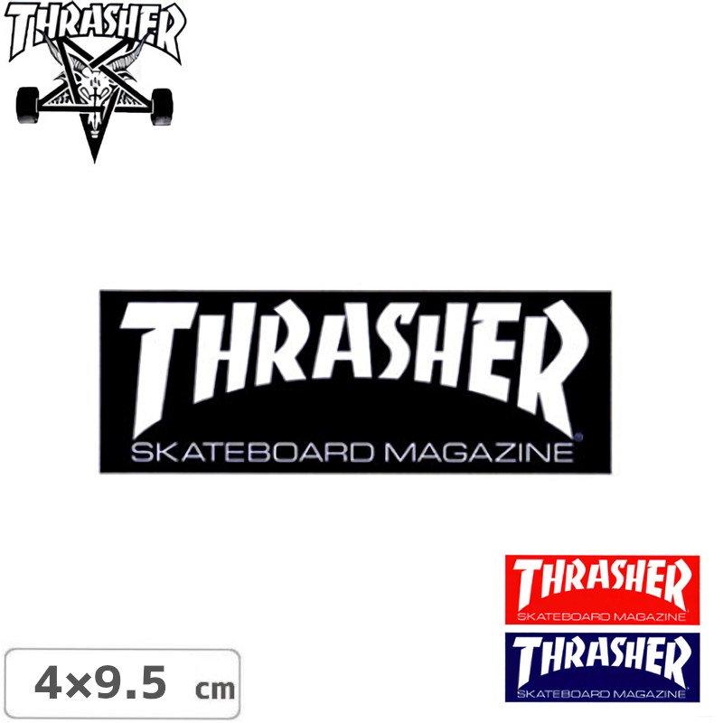 【スラッシャー THRASHER スケボー ステッカー】STANDARD LOGO【3色】【4cm x 9.5cm】NO59