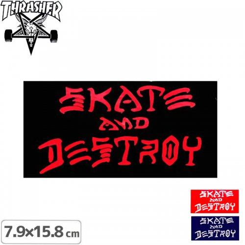 【スラッシャー THRASHER スケボー ステッカー】US規格 SKATE AND DESTROY【3色】【7.9cm x 15.8cm】NO62