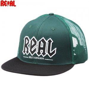 【リアル REAL SKATEBOARDS スケボー キャップ】REAL DEEDS TRUCKER HAT【グリーン x ブラック】NO13