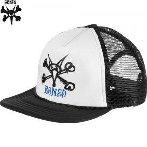 【BONES ボーンズ スケボー キャップ】RAT BONES TRUCKER HAT【ブラック x ホワイト】NO11