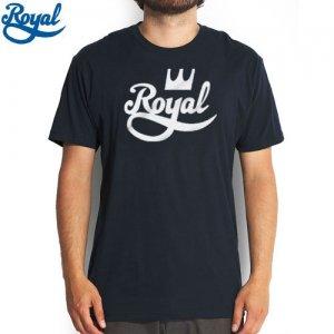 【ロイヤル ROYAL TRUCK  スケボー Tシャツ】CROWN SCRIPT TEE【ネイビー x ホワイト】NO47