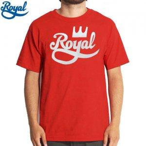 【ロイアル ROYAL TRUCKS スケボー Tシャツ】CROWN SCRIPT TEE【レッド x ホワイト】NO52