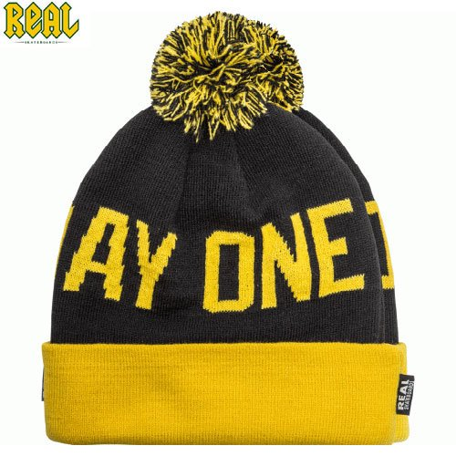 【REAL リアル スケボー ニットキャップ】SINCE DAY ONE POM BEANIE【ブラック x イエロー】NO2