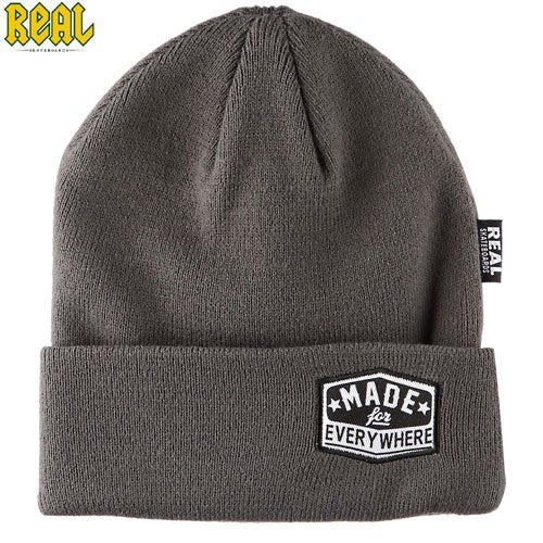 【REAL リアル スケボー ニットキャップ】REAL EVERYWHERE BEANIE【グレー】NO3
