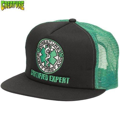 【クリーチャー CREATURE スケボー キャップ】FIRST AID TRUCKER HAT【ブラック x グリーン】NO31