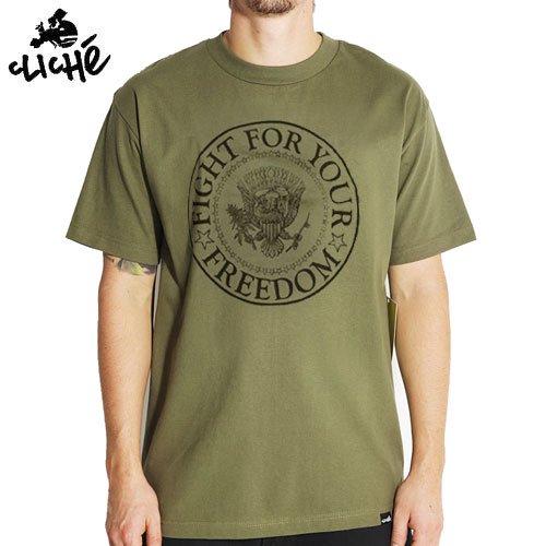 【クリシェ CLICHE スケボー Tシャツ】CLICHE FIGHT TEE【グリーン】NO20