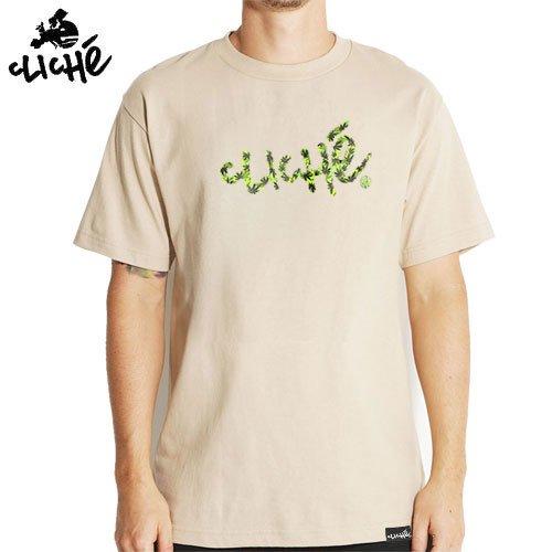 【クリシェ CLICHE スケボー Tシャツ】HANDWRITTEN LEAF CAMO TEE【タン】NO21