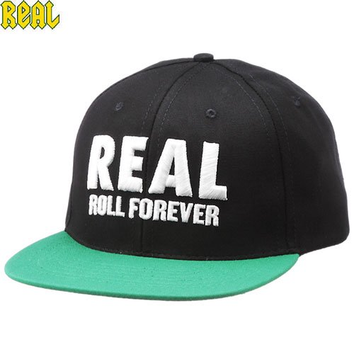 【REAL リアル スケボー キャップ】GENUINE SNAPBACK CAP【ブラック x グリーン】NO19