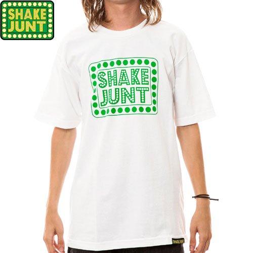 【シェイクジャント SHAKE JUNT スケボー Tシャツ】BOX LOGO TEE【ホワイト x グリーン】NO7