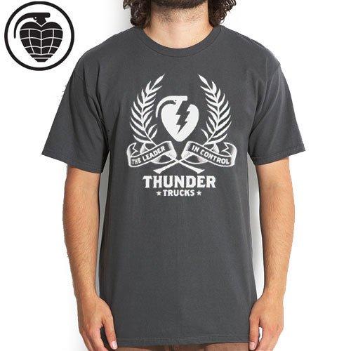 【サンダー THUNDER TRUCKS スケボー Tシャツ】THUNDER WREATH TEE【チャコール】NO55
