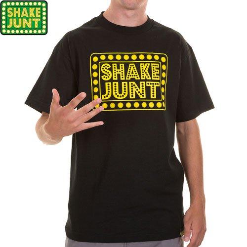 【シェイクジャント SHAKE JUNT スケボー Tシャツ】BOX LOGO TEE【ブラック x イエロー】NO12