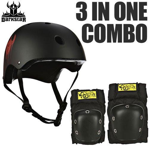 【Darkstar ダークスター スケボー ヘルメット】3 IN ONE COMBO HELMET & PAD SET【ブラック】NO2